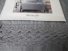BELLA LUX Shabby Chic Crochet Lace Gray Linen Cotton Quilt - Full/Queen