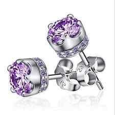 Women's 925 Sterling Silver Earrings Amethyst Ear Stud Fashion jewelry