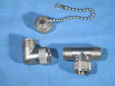 Lot of 3 AMPHENOL UHF Adapters Tee M-358 49199, Angle UG-646/U 49192, Cap 83-IAC