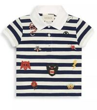 73da22d90575 GUCCI 6/9 Baby Boys Short-Sleeve Stripe Embroidered Polo - New With Tags