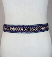 Vtg Blue Multicolor Woven Geometric Snap On Fashion Belt Hippie Rockabilly Sz 31