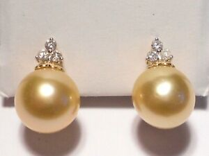 11mm South Sea golden pearl earrings,diamonds,solid 14k yellow gold.