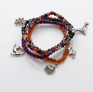Crackle Glass Bracelet Set with Charms Halloween / Pagan / Wicca