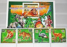 NIGER 1996 1181-84 Block 85 887-91 Wild Animals Boy Scouts Rotary Lion Leopard**