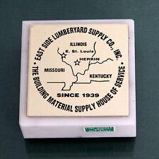 Older Eastside Lumberyard Supply Co Engraved Metal On Marble Base Paperweight
