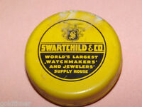 VINTAGE WATCH & JEWELRY SWARTCHILD & CO WATCHMAKER JEWELER TIN
