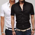 New Mens Man Short Sleeve Slim Fit Dress Shirt Tee Tops Casual Formal T-Shirt