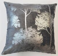 "GLITTERY SILVER CEDAR TREES DARK GREYTHICK  VELVET 20"" CUSHION COVER £8.99 EACH"
