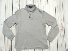 Ralph Lauren Pima Soft Touch Long Sleeve Grey Polo Shirt Top Size Small