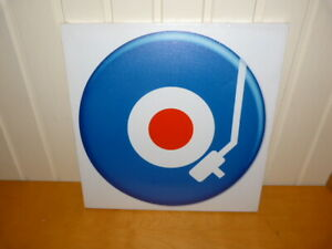 Square Red/White/Blue Record Canvas Wall Art Print Wall Hanging Sign 38x38cms