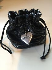 Guess Bag Drawstring Pouch Black Patent Leather Quilted Purse Heart Charm