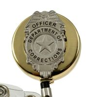 Thin Blue Line Police Badge Reel ID Security Pass Holder Subdued Flag Chrome TBL