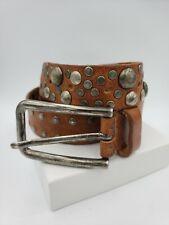 Womens Brown Studded Leather Belt Sam Brown Medium 34-36