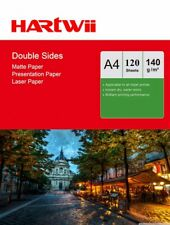 100 Sheets + 20 Free A4 140Gsm Matt Double Sided Photo Paper Laser Paper  Hartwi