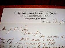 Vtg Letterhead 1872 Handwritten Woodward Brown Boston Commission Merchants