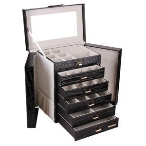 Large Jewellery Box Display Organiser Necklace Rings Earring Storage Mirror Case