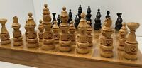Vintage Wood Chess Set Hand Carved Pieces Checkerboard Folding Storage Box