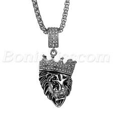 """""""KINGS LANDING"""" Men's Luxury Stainless Steel Crown Lion Pendant Necklace Chain"""
