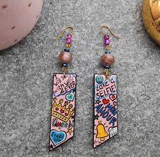 Art Wood Dangle Resin Earrings Handmade Pop Art painting.  Love message Jewelry