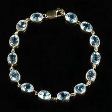 BLUE TOPAZ GOLD BRACELET 9CT YELLOW GOLD 14CT OF BLUE TOPAZ