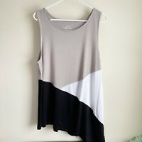 Torrid Super Soft Knits Colorblock Black White Gray Swing Tank Top Plus Size 2X