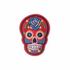 Red Sugar Skull (Iron On) Embroidery Applique Patch Sew Iron Badge