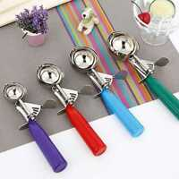 1 pcs *Stainless Steel Plastic Kitchen Food Fruit Ice Cream Scoop Disher Spoon