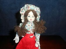 "8.5"" - Bisque head, arms, feet - cloth body - Doll - Prairie Dress - Braids"