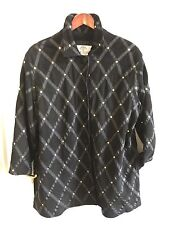 80s Mab Studio ITALIAN Black Leather Suede/Brass/Ribbons Shoulder Pads Jacket L