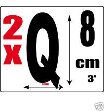 lot 2 lettres [Q] Sticker autocollant noir hauteur 8cm Lettre adhésive en vinyle