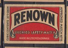 Ancienne étiquette allumettes Tchécoslovaquie  SF34 Renown
