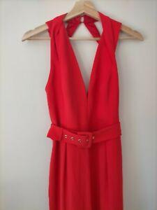 Shike Elegant Bright Red Jumpsuit Size 10 Big Belt One-piece Pantsuit Pockets