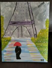 Acrylic Painting Of The Couple Looking At The  Eiffel Tower