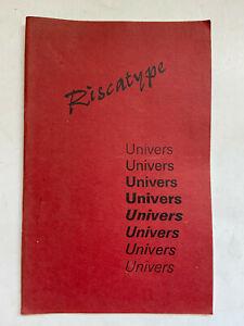 Riscatype - Univers - c1967 - Paperback Book