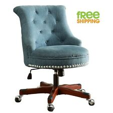 Blue Upholstered Office Chair Walnut Wood Work Space Button Tufted Swivels New!