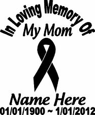 Vinyl Decal Sticker Graphic In Loving Memory Personalized Custom Glossy Ribbon