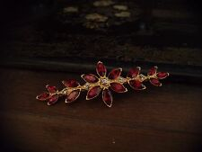 Vintage Navette Marquise Ruby Red & Light Amethyst Crystal Brooch. Gold Plated