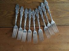 "Set of 9 1847 Rogers Silverplate Forks ""Columbia"""