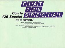 Fiat 125 Special Original Italian Language Brochure Large Excellent Condition