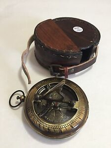 "3"" Push Button Nautical Sundial Compass Traditional look . USA Seller!!!"