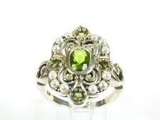 .75ctw Peridot & Seed Pearl Victorian Art Deco Sterling Filigree Ring sz8 105b