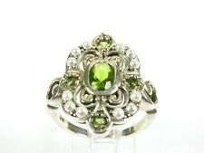 .75ctw Peridot & Seed Pearl Victorian Art Deco Sterling Filigree Ring sz7 105a