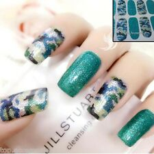 Camouflage Sparkly Nail Art tips Sticker Decal Full Wraps Acrylic#06146 Free P&P