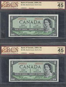 1954 DEVIL'S FACE $1.00 BC-29b BCS EF-45 (2) Consecutive Canada QEII DF Dollars
