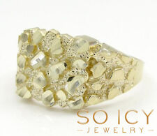 3 Grams Size 11 10k Yellow Real Gold Mens Hip Hop Square Nugget Ring