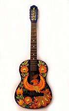 Vintage Russian acoustic 7 string guitar hand painted signed artist 1963 USSR