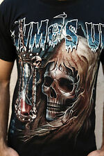 RockEagle T Shirt Skull Gothic Time's Up Emo Black T-Shirt Tee M Death Coming