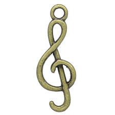 50 Pendentifs breloque Sympole de musique Bronze 26x9mm K10563