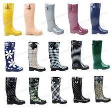 New Womens Flat Wellies Mid Calf Rubber Rain & Snow Boots Rain Boots, Size 5-11
