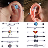 316L Surgical Steel Industrial Bar Scaffold Ear Barbell Ring Piercing Jewelry